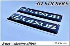 2x 3D STICKERS LEXUS STICKERS LOGO EMBLEM - BLACK chrome effect