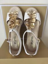 Michael Kors Cate Nicki Wedge Heel Sandals Girls/toddler Size 12 White/Gold NEW