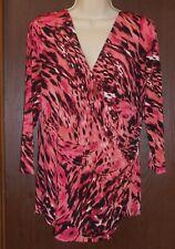 Jennifer Lopez Knit Top Sz XL Orange Pink White Black Animal Print Ruched Side