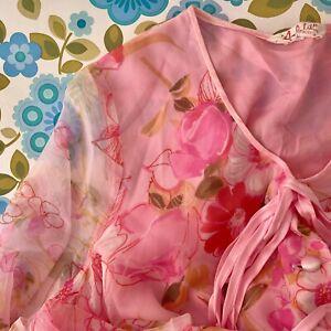 RASLTAN Vintage 60's Dressing Gown Pink FLORAL Size 14