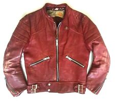 SUPERB 1960s WOLF DISTRESSED LEATHER MOTORCYCLE  JACKET - CAFE RACER LEWIS ERA