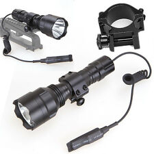 Tactical 5000LM Flashlight Pressure Switch w/Mount XML T6 LED Torch Lamp For Gun