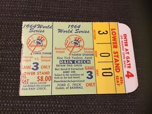 Yankees Mickey Mantle World Series HR Ticket #16 1964 g3 PASSES BABE RUTH