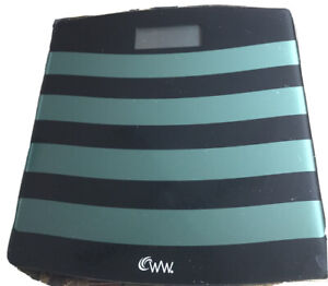 Weight Watchers WW WW24BL Conair Glass Bathroom Scale Up to 400 lbs Black Teal