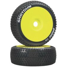 NEW Duratrax 1/8 Buggy F/R Shotgun Tire C2 Mounted Tire & Wheels Yellow (2) D...