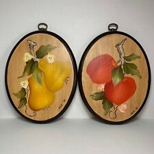Vintage Wooden Oval Hand Painted Apple and Pear Pictures - 1981