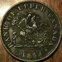 1854 UPPER CANADA DRAGONSLAYER HALF PENNY TOKEN