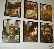 "6 WALL PAINTING SET (4""X3"") MEXICAN COUNTRY MEXICO VILLAGES FOLK ART PM2"