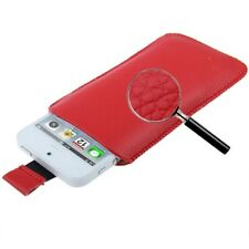 Funda HTC DESIRE X LEGEND HERO cuero ROJO PT5 ROJA PULL-UP pouch leather case