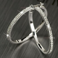 18K gold GP made with swarovski crystal hoop earrings bling bling sparkling