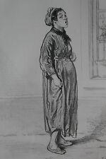 GAVARNI Lithographie originale série PHYSIONOMIES PARISIENNES - CHANSON DES RUES