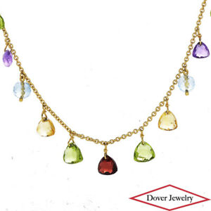 Estate Peridot Citrine Amethyst 14K Gold Multi Gemstone Necklace 8.8 Grams NR