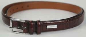 "Polo Ralph Lauren Brown ""Crocodile"" Leather Belt Silver Buckle NWT"