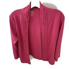 LL Bean Womens 100% Supima Cotton Pin Tucked Open Cardigan Hot Pink Size M-PET