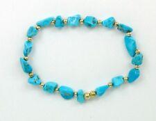 14k Gold Filled & Sleeping Beauty Turquoise Nugget Stretch Bracelet, Gemstone