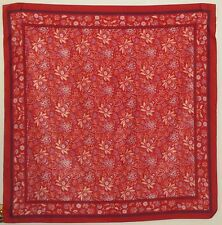 "TERRIART Red, Purple Flowers & Stripes 31"" Square Scarf-Vintage - SARAH COVENTRY"