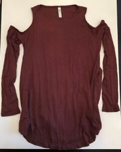 Lyss Loo In Good Company Cold Shoulder Long Sleeve Top T2042 Red Brown - S
