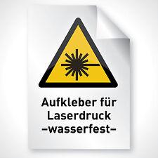 100 WEIß MATT Aufkleber Schriftzug Folie Motiv Text drucken Laserdrucker DIN A4