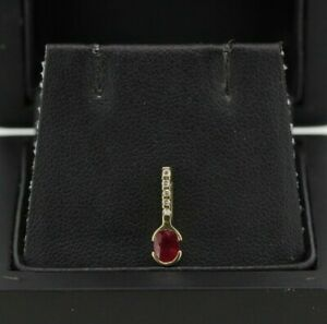 9ct Yellow Gold 0.40ct Ruby and Diamond Pendant