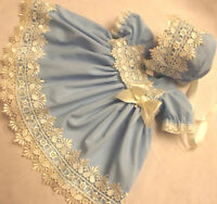 DREAM BABY BLUE & CREAM GUIPURE DRESS & BONNET NB TO 18 MONTHS OR REBORN