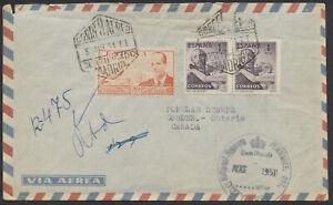 1951 Registered Cover, Madrid Spain to Cobden Canada, via Montreal, Pembroke
