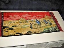 Vintage Middle East MIDEAST Tapestry Rug Mosque Background Camels Travelers