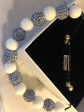 Danish Nirbana Soul £119 bracelet Swarovski Shamballa his & her set blue white