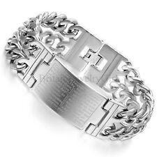 "9.1"" Mens Wide Heavy Stainless Steel Silver Tone English Bible Cross Bracelet"