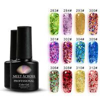 Meet Across 7ml Shimmer Glitter Soak Off UV Gel Nail Polish Sequins Varnish Tips