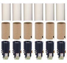 Chandelier Lighting Fixture Socket Kit With 1 3/4 Inch Candle Covers - 6 Pack