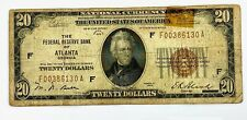 1929 Twenty Dollar $20 National Currency BANK  Note Atlanta Georgia