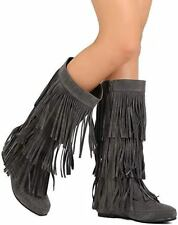 Womens Fringe Boots 3 Layer Moccasin Knee High Flat Faux Suede Round Toe New
