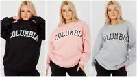 Womens Oversized Sweater Jumper Ladies Columbia Slogan Sweatshirt Pullover Top