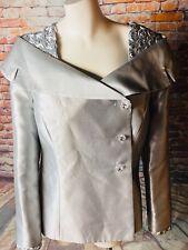 Dress By Nubiano Elegent Silver Below Knee Dress with Jacket Size 14