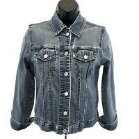 GAP Denim Jean Jacket Womens S Stretch Distressed Faded Blue Long Sleeve Button