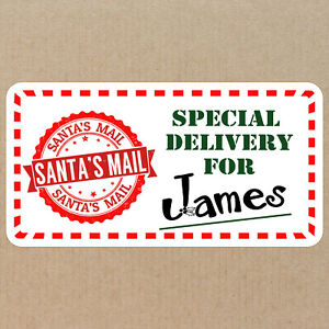 72 Personalised Christmas Present Labels Stickers From Santas Mail Custom Names