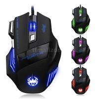 ZELOTES USB wired Gaming Mouse 1000/1600/2400/3200/7200DPI Backlight For PC L1W7