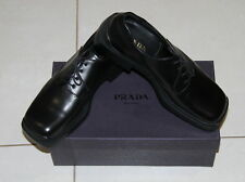 NIB Mens size 8 black leather dress shoes made by PRADA style 1052 trappeur nero
