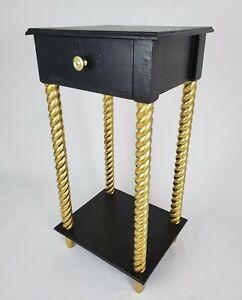 Vintage Nightstand End Table Barley Twist Legs Regency Neo-Classic Painted