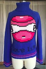 Lady Desigual Large Fish Ugly Christmas Sweater Oversized Blue Turtleneck