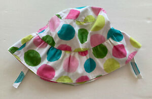 NWT Gymboree Flower Garden 2T-5T Watercolor Polka Dot Sun Hat with Chin Strap