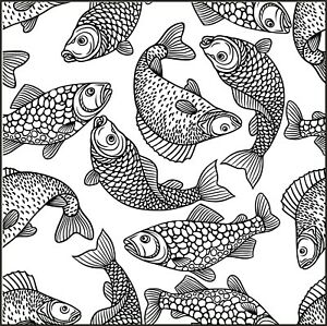 Background - Wallpaper - Fish - Aquatic #1 Unmounted Clear Stamp Approx 60x60mm