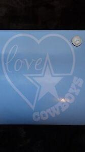 8 inch Dallas Cowboys Love Heart Car Decal