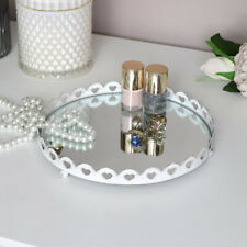 White Heart Detailed Mirrored Tray vintage shabby chic candle wedding decor love