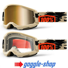 100% STRATA 2 MOTOCROSS MX BIKE MTB GOGGLES KOMBAT CLEAR / MIRROR LENS