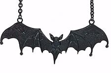 "5"" Large Black Gothic Vampire Bat Necklace Dracula Punk Grunge Jewelry Pendant"
