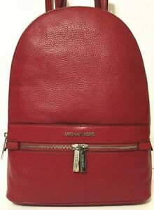 Michael Kors Women Lady Kenly Scarlet Red Leather Large Backpack