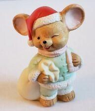 Flambro mouse figurine Christmas hat gift bag adorable Holiday helper decorative