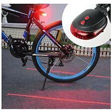 Red 5 LED Bike Tail Light 2 Laser Beam Line Bicycle Rear 7 Flashing Mode Safety