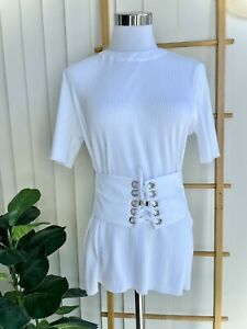 Sabo Skirt White Ribbed Lace Up Shirt Size XS - BNWT